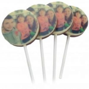 chocolate lollipops with photo