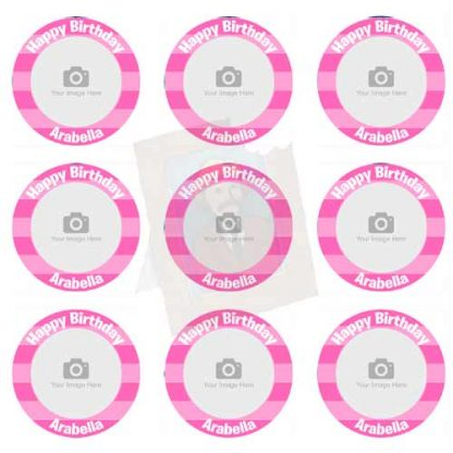 pink striped cupcake toppers