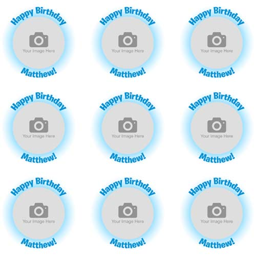 Blue Glow Cupcake Toppers