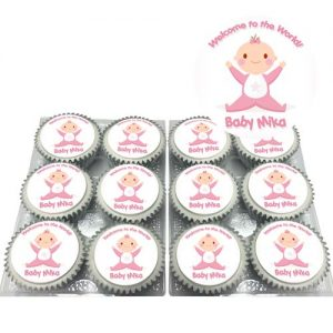 Baby Shower Girl Cupcakes with Name