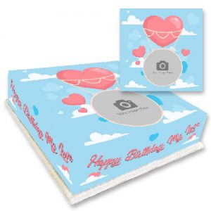 Personalised Love Heart Balloon Photo Cake