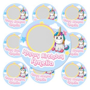 Unicorn icing cupcake toppers with your photo and text