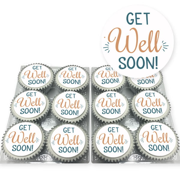 Get well soon message cupcakes