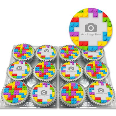 lego cupcakes   Toy Block Cupcakes with Photo Delivered