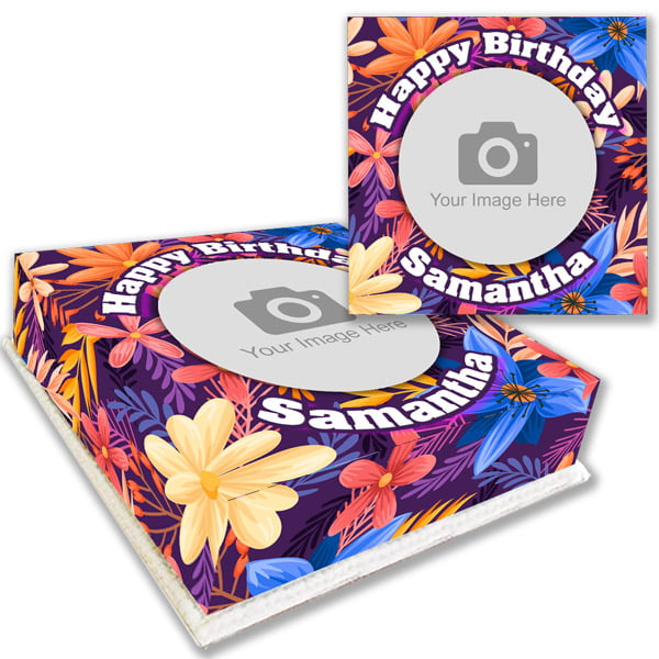 Colourful Floral Photo Cake Order onlie for delivery