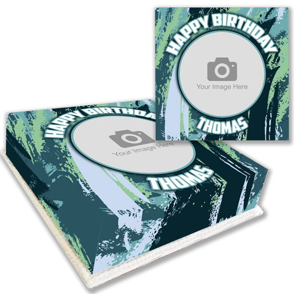 Green Brush Strokes Photo Cake