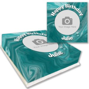 Teal Marble Photo Cake Order
