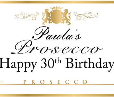 Personalised Prosecco Edible Label next day delivery
