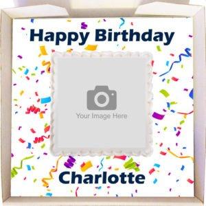 Confetti Personalised Gift Cake Design