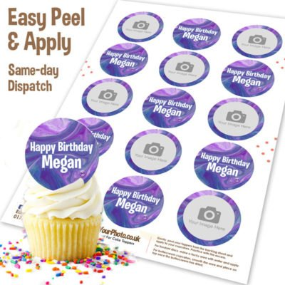 Purple Marble Photo Cupcakes Toppers Edible