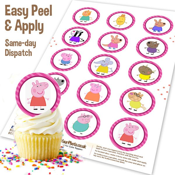 Peppa Pig Edible Cupcake Toppers